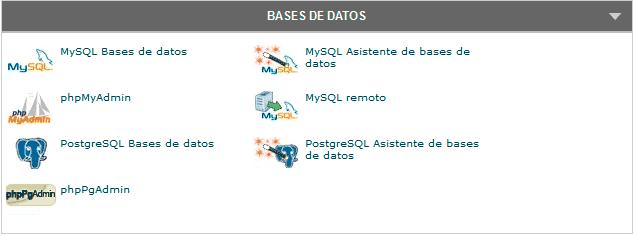 cpanel bases de datos