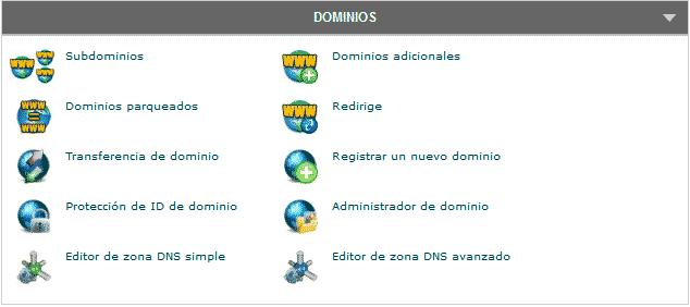 cpanel dominios