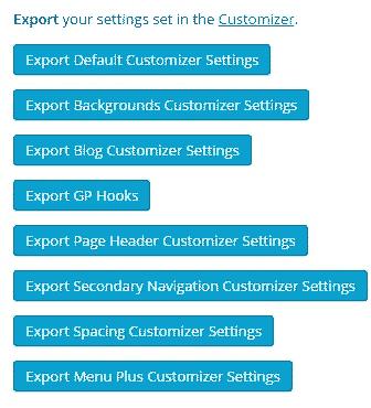 generatepress premium importar exportar