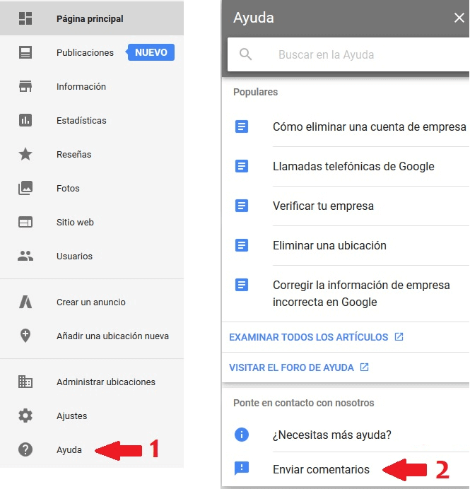 contactar con google my business