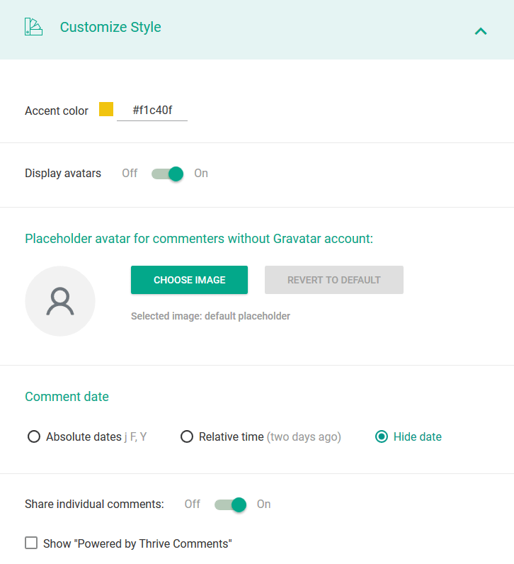 customize style comments