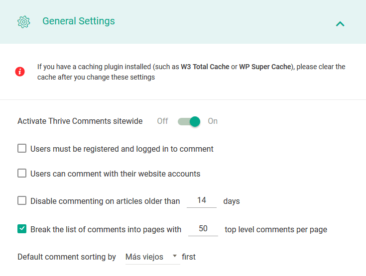 thrive comments general settings