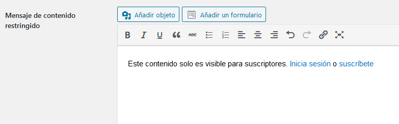 contenido privado wordpress